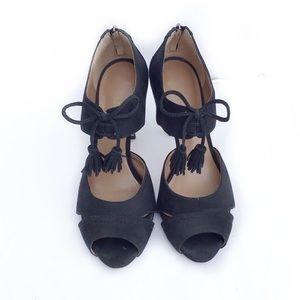 Talbots Shoes - Talbots-Leather Tassel Peep Toe Stiletto Booties